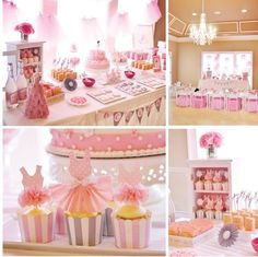 Pink ballerina themed party for little girls