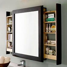 Wow! Great bathroom cabinet! The mirror has pullout storage units which slide out from each side, giving you access to all your products while using the mirror, which stays front and center. Great idea! This one is from Decora Cabinets.