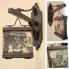 """Купить Часы с кронштейном """"ДворЪ"""" - коричневый, часы для дачи, часы для бани, часы необычные"""