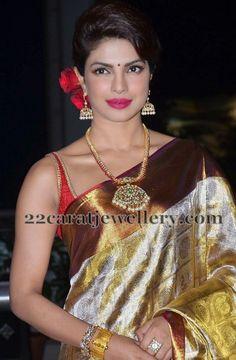 Jewellery Designs: Priyanka Chopra Diamond Ruby Long Set