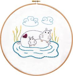 Hippo Embroidery Pattern from the Mothers Love Embroidery collection at arialane.com