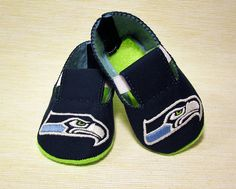 Seahawks Baby Booties - 100% Hand Embroidered