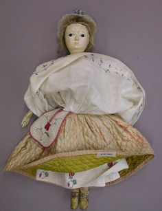 Dollwearingsewing pocket, mid 1700's