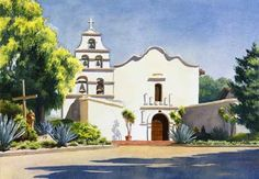 California Missions-The San Diego de Alcala Mission in San Diego ...note the simplicity of the facade