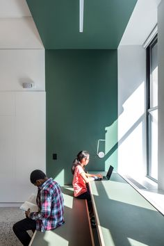 A I designs New York City school with colourful panels and tiered seating - New Site Lobby Interior, Office Interior Design, Office Interiors, Interior Work, Kindergarten Interior, Kindergarten Design, Studios Architecture, Interior Architecture, Tiered Seating