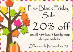 Sweet Pea Family Tree is having a Pre-Black Friday and Black Friday Sales.