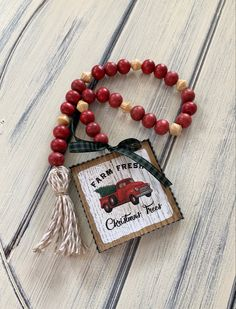 Rustic Christmas Crafts, Christmas Wood, Holiday Crafts, Christmas Ornaments, Wood Bead Garland, Beaded Garland, Diy Crafts For Gifts, Dollar Tree Crafts, Bead Crafts