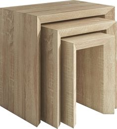 Set de 3 tables gigognes contemporaines coloris sonoma