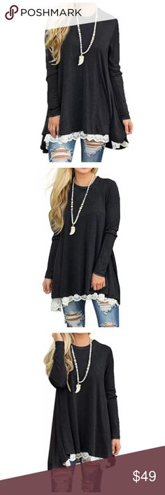 "Black Long-Sleeve Lace Tunic Brand new! Cotton and polyester mix! Lace detail on bottom! Bust: 40"" / Shoulder: 16"" / Sleeve: 24"" / Length: 33"". Tops Tunics"