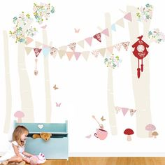 Birch Tree Forest Vintage Girl Peel & Place Wall Stickers
