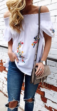 #summer #outfits Embroidery Details FTW  Wore This For A Friday Night Double Date  Can't Wait To Ditch The Jeans And Wear Cutoffs All Day Every Day #wheressummer ☀️ // Top And Jeans Are Under $100