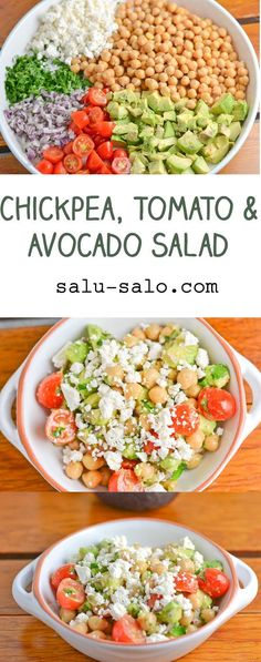 Chickpea, Tomato and Avocado Salad. This healthy recipe makes a great side dish or a light lunch. Full of vegetables and clean eating ingredients and can be made in no time! Avocado Tomato Salad, Avocado Salat, Avocado Toast, Spinach Salad, Vegetarian Recipes, Cooking Recipes, Healthy Recipes, Vegetarian Dish, Alkaline Diet Recipes