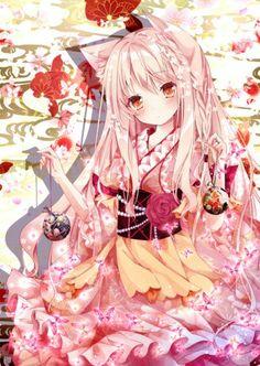 No larger size available Anime Girl Kimono, Anime Wolf Girl, Manga Anime Girl, Cool Anime Girl, Anime Girl Drawings, Anime Neko, Kawaii Anime Girl, Anime Girls, Manga Pokémon