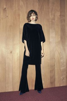 Campbell Velour Dress, Black 170
