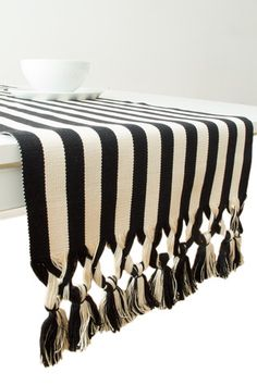 B&W Striped Table Runner