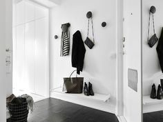 The Dots black coat hooks Muuto great for decorating modern homes Stockholm Apartment, White Apartment, Cozy Apartment, Hallway Inspiration, Interior Inspiration, Hallway Decorating, Entryway Decor, Style Loft, Blogger Home