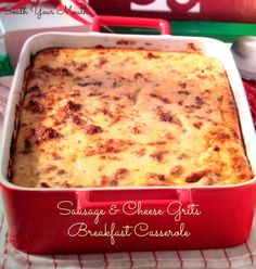 Cheesy grits and pork sausage cook up a Southern version of the breakfast casserole!