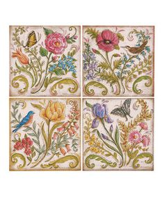 Another great find on #zulily! Embroidered Garden Wall Canvas Set by C & F #zulilyfinds