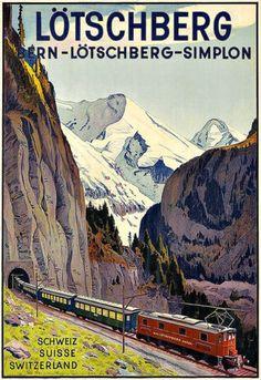 ART-AD-BERNE-LOTSCHBERG-SIMPLON-Switzerland-Travel-Railway-Train-Poster-Print