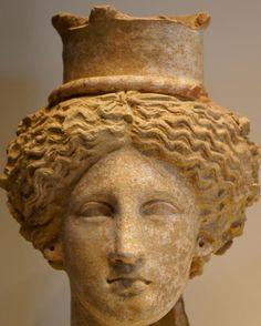 Head of a Goddess, perhaps Demeter or Kore, Greek, 350–300 BC. Sicily. Terracotta. The J. Paul Getty Museum, Villa Collection, Malibu, California.