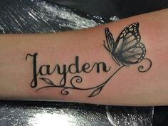 Tattoos For Baby Boy, Baby Feet Tattoos, Name Tattoos For Moms, Baby Name Tattoos, Tattoos With Kids Names, Tattoos For Guys, Tattoos For Women, Grace Tattoos, Cool Chest Tattoos