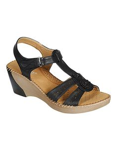 Loving this Black Mary Perforated Floral Sandal on #zulily! #zulilyfinds