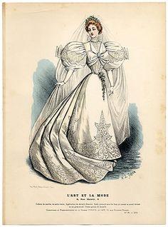 L'Art et la Mode 1895 N°39 Complete with colored engraving by Marie de Solar, Wedding Dress Vintage high fashion magazine  | Hprints.com