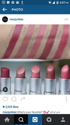 #lip #swatch #MAC #pink #mauve Color Me Beautiful, Be Your Own Kind Of Beautiful, Mac Makeup, Beauty Makeup, Lip Swatches, Beauty Hacks, Beauty Tips, Lipstick Colors, Hair And Nails
