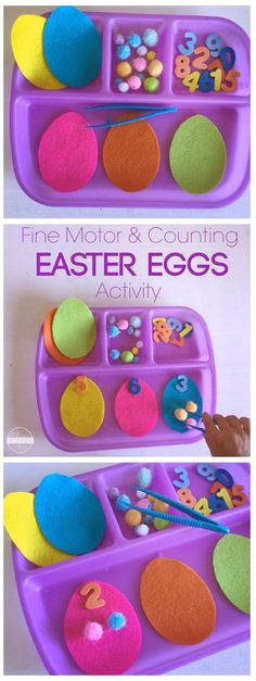 Easter Eggs Counting Activity is a fun Easter Math for toddler, preschool, kindergarten to help them practice not only numbers, but improve fine motor skills in this fun Easter activities for kids