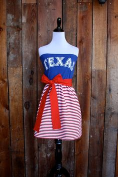 Texas Rangers Baseball Strapless Game Day Dress on Etsy by Jill Be Nimble