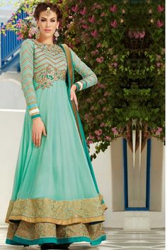 Turquoise Blue Faux Georgette Embroidered Festival Lawn Kameez Sku Code:223-4196SL470886 $ 106.00