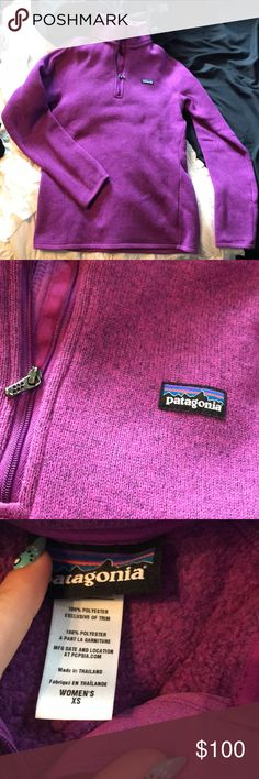 Patagonia better sweater quarter zip Women's Patagonia better sweater purple quarter zip, barely worn! Excellent condition size XS Patagonia Sweaters