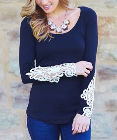 Love this Pinkblush Black Crochet-Sleeve Scoop Neck Top by Pinkblush on #zulily! #zulilyfinds