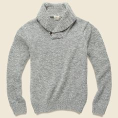 Faherty Alpaca Shawl Collar Sweater - Grey Marl