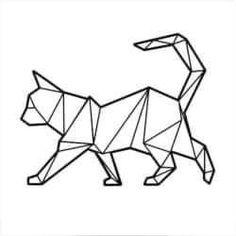 Furniture - Artboxone Poster cm animals Geometric cat high quality design art print – image animals by - Geometric Cat, Geometric Drawing, Geometric Shapes, Chat Origami, Origami Art, Origami Tattoo, Origami Bookmark, Bleistift Design, Polygon Art