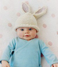 Knit baby hats are almost always adorable, but this one is particularly photo-worthy.  Follow this Bunny Beanie Pattern to create a baby hat that's perfect for Easter.  The beanie fits babies aged three to six months.
