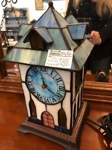 Stained glass lamp and clock only 25