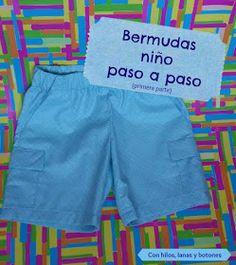 Con hilos, lanas y botones: DIY Bermudas para niño paso a paso Short Bebe, Short Niña, Mens Vest Pattern, Pants Pattern, Dress Sewing Patterns, Baby Patterns, Indian Women Haircut, Diy Shorts, Chor