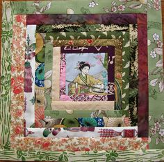 Asian log cabin bee block by Quirky Granola Girl - Japanese Quilt Patterns, Japanese Patchwork, Japanese Fabric, Patchwork Patterns, Batik Quilts, Pink Quilts, Oriental, Quilting Projects, Quilting Designs