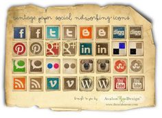 free vintage paper social network icons