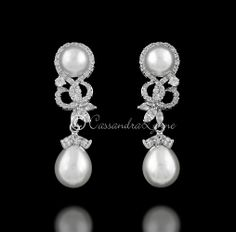 Unique Pearl Drop Bridal Earrings with CZ