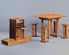 French modernist designer Andre Sornay's bar furniture converts into a card table with seating. 1930s. This has a very De Stijl feeling to it.