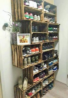 Wow, now this is a huge book rack that you can see in the picture. If you have a lot of shoes and you have no place to assemble them then such ideas are the best for you. Making these racks are easy when you have wooden palette in the home, so take out the palette and start working now because it's a huge rack and you will have to work a lot on it.