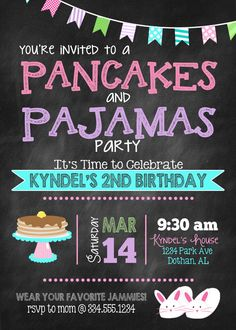 Pancakes and Pajamas Birthday Invitation by LaLoopsieInvites