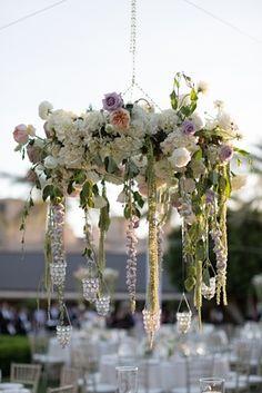 Pastel Flower Wedding Chandelier Photography: Stephanie Fay Photography Read More: http://www.insideweddings.com/weddings/sophisticated-garden-inspired-wedding-in-phoenix-arizona/659/