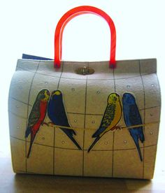 Vintage felt parakeet purse with lucite handle by Garay
