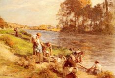 Lavandieres au Bord de La Marne (Washerwomen by the Banks of the Marne)  by Léon Augustin Lhermitte