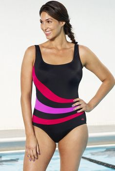 9e5e3ef0efd Xtra Life Lycra Aquabelle Red and Orchid Spliced Swimsuit Swimwear Brands