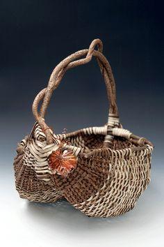 Matt Tommey   Appalachian Egg Basket - Bittersweet, Kudzu & Eleagnus with Hand Hammered Copper Leaf