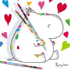 Love is inspiring. Hippo Drawing, Sandra Boynton, School Murals, Lowbrow Art, Cool Cartoons, Whimsical Art, Happy Valentines Day, Painted Rocks, Bunt